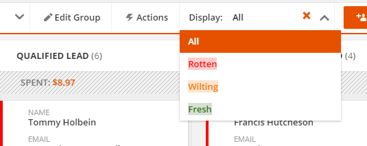 the new display dropdown in the header bar allows filter by the Color Field