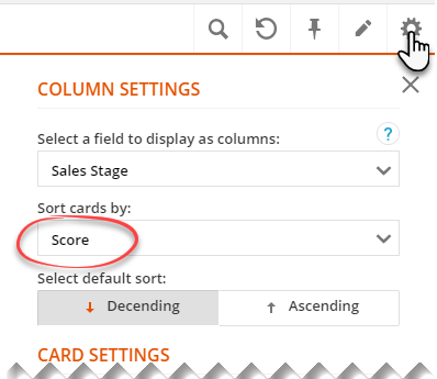 To sort by lead score select the score field in the sort cards by dropdown