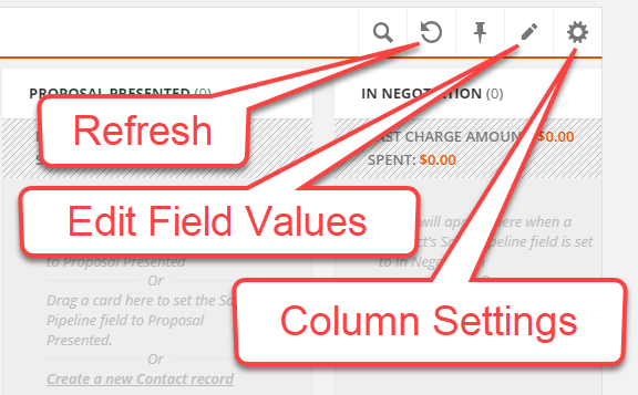 Card view header icons include one to refresh data, edit the dropdown field values and change the column settings