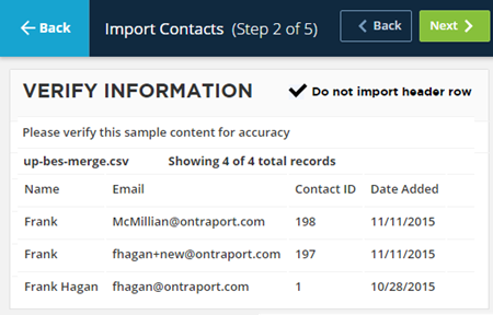 import contacts step 2 of 5