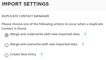 duplicate manager settings