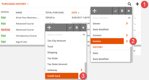 display the credit card used in the Purchase History section