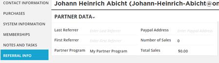 referral info tab