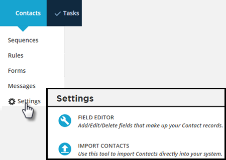 import contacts menu