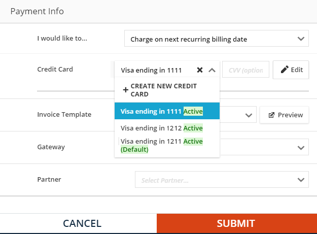 Change the credit card on an open order