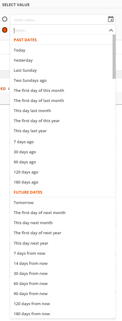 past and future date ranges are provided