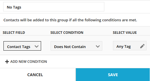 Create a group using the condition does not contain any tags
