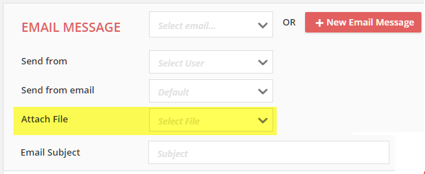 view and select the Filebox files in the Attach File drop down
