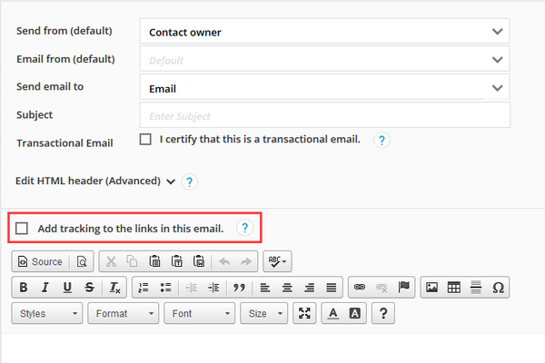 Add tracking to links check box in the HTML Email Editor