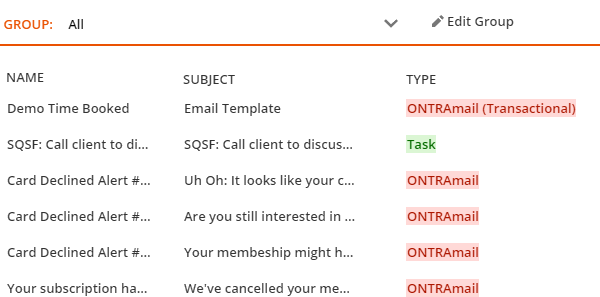 Transactional messages have the label applied to them in the Type column