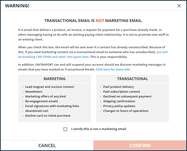 transactional email warning - no marketing information allowed