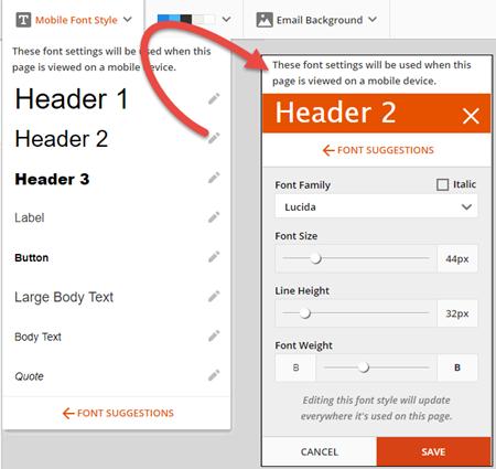 edit email fonts