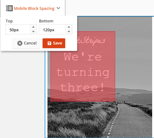 Adjust the mobile block background spacing to fine tune the background image