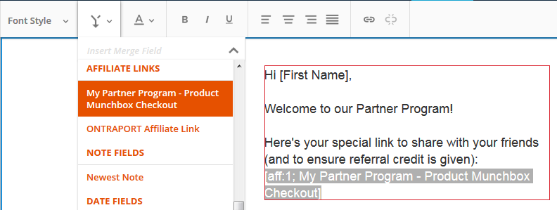 Promo Tool merge fields in the email