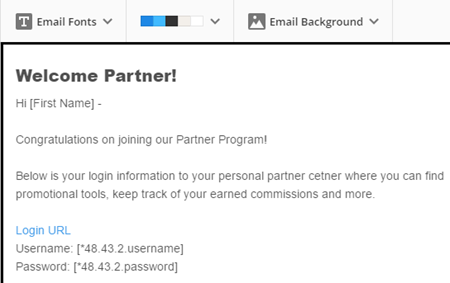 Sample partner email with username, password and promo tools