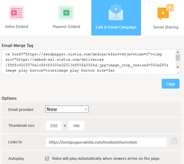 Select the Link in Email Campaign code block in Wistia