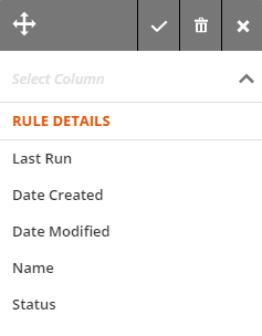 fields available for column headings in the Rules collection