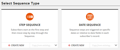 Select Step Sequence or Date Sequence