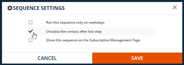 check the unsubscribe after last step checkbox