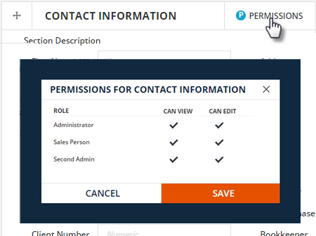 set permissions for sections