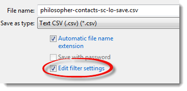 Text Import edit filter settings check box