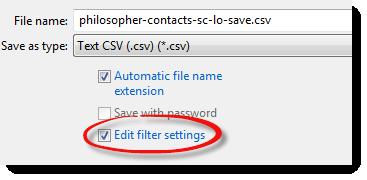 Text Import edit filter settings check box