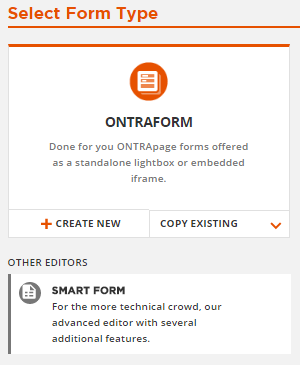 choose ONTRA or Smart Forms