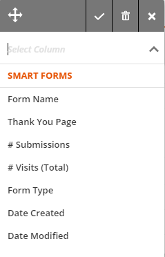 fields available for column headings in the Forms collection