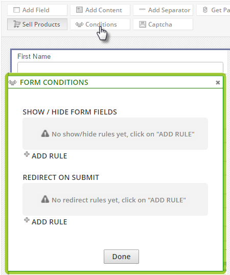 form conditions dialog