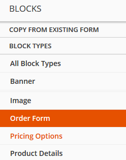 Add Order Form Block to ONTRAform