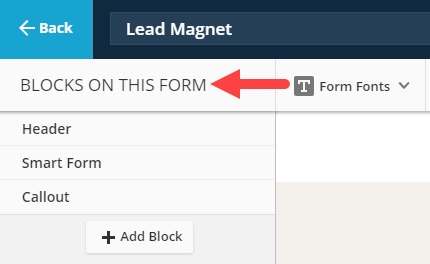 Palette reads Block on this form
