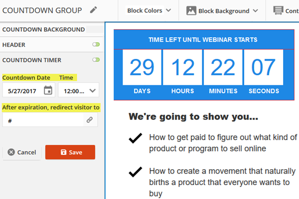 Configure the countdown timer block