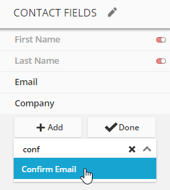 using the confirm email field