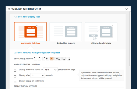 Popping up an ONTRAform on an ONTRApage