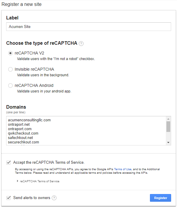 the reCAPTCHA configuration screen