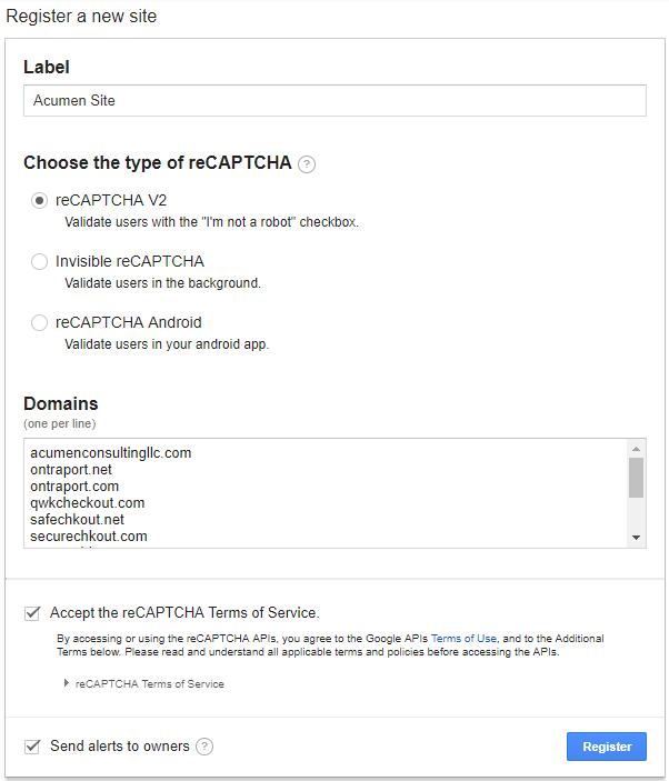 the reCAPTCHA configuration screen