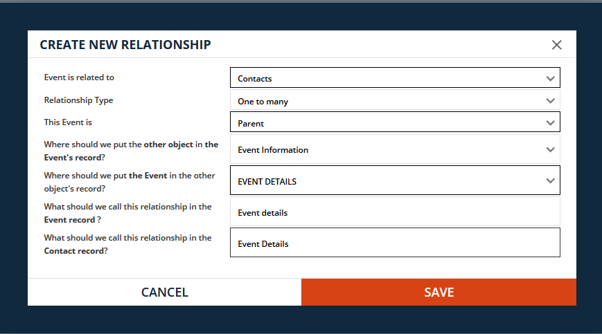 Set relationship for the new Custom Object