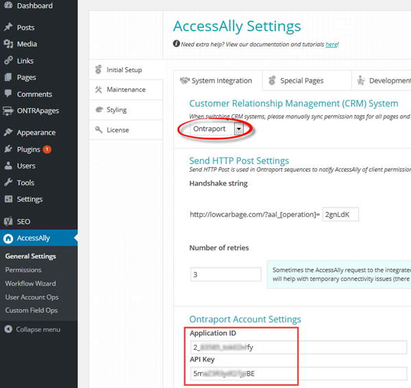 Access Ally ONTRAPORT settings section