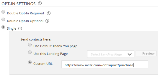 Avizr URL as thank you page
