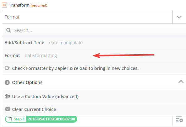 pre-configured Zap date formatting step