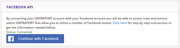 continue with facebook button with the status listed as connected