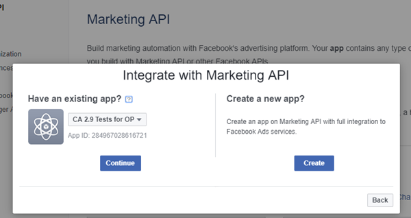 Select an existing Ads App or create a new one