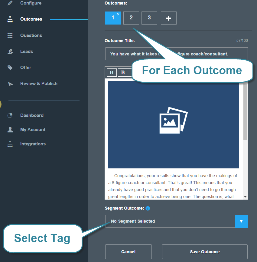 Tags for outcomes