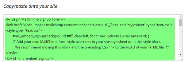 Copy the embedded form code to post on your website or another ONTRApage