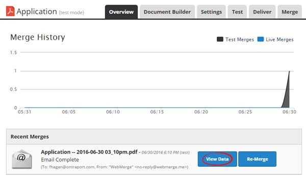 view recent merge data