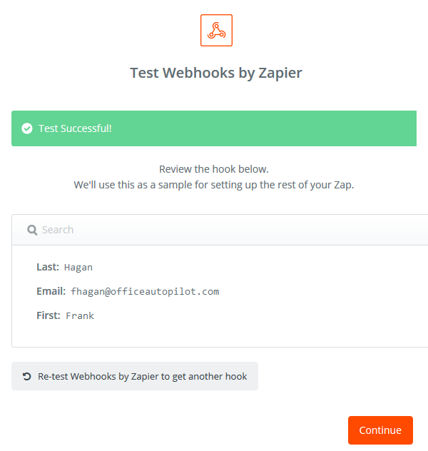 Zapier will confirm that data was passed to the webhook