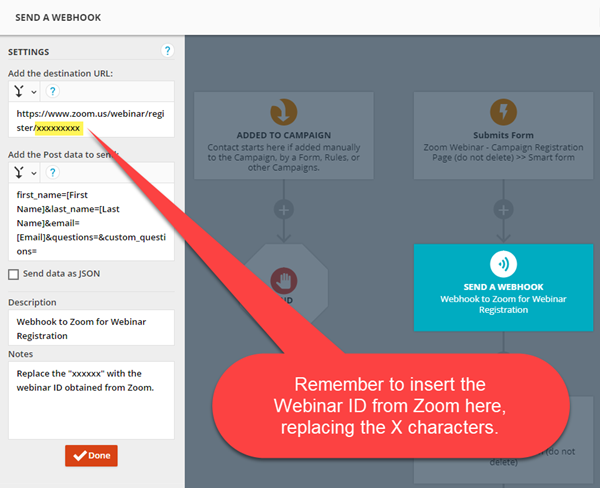 Campaign webhook to add contacts to the webinar