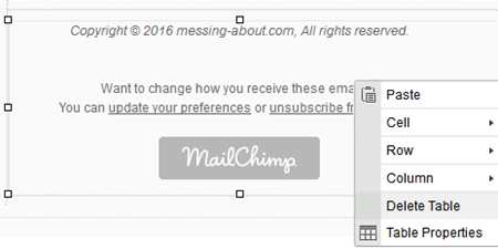 delete MailChimp information