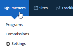 Partner's sidebar menu