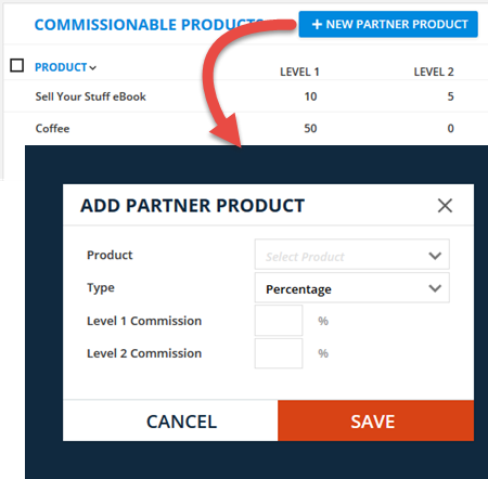 add products to the partner program